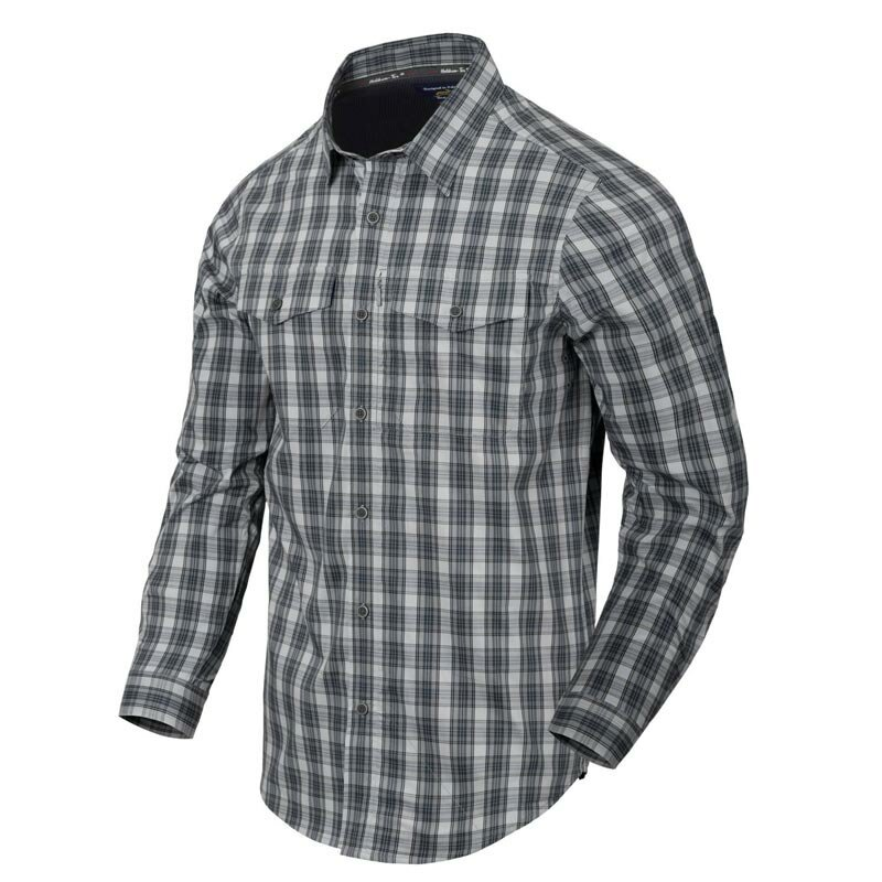 Helikon-Tex Covert Concealed Carry Langarmhemd Foggy Grey Plaid M